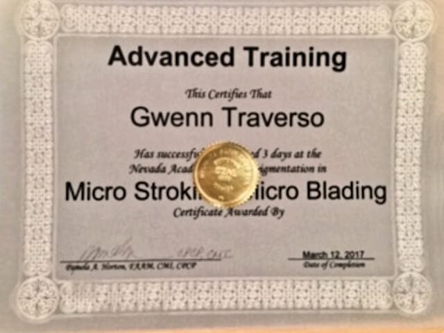Micro Stroking and Micro Blading Certificate issued to Gwenn Traverso in March 2017