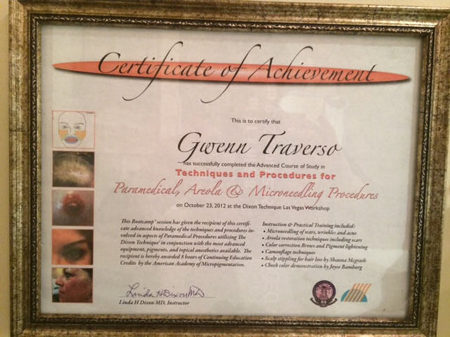 GT-Certificate-Paramedical, Areola And Microneedling Procedures