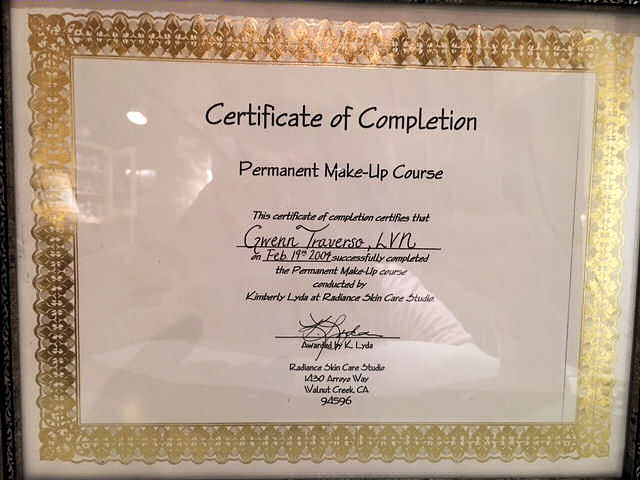 Certificate of completion issued by Radiance Skin Care Studio in Feb 2004